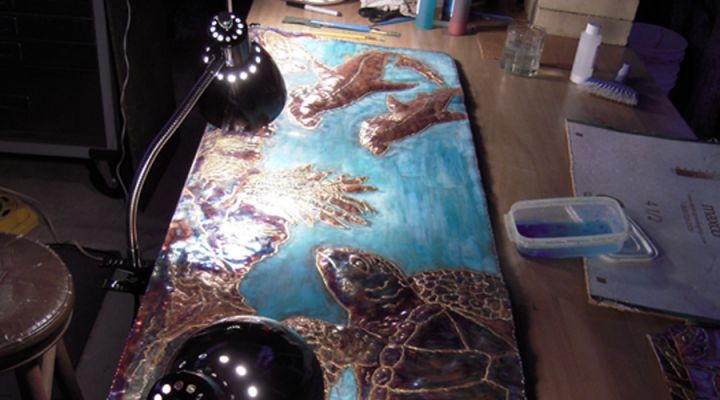 Sea Turtle Copper Repousse
