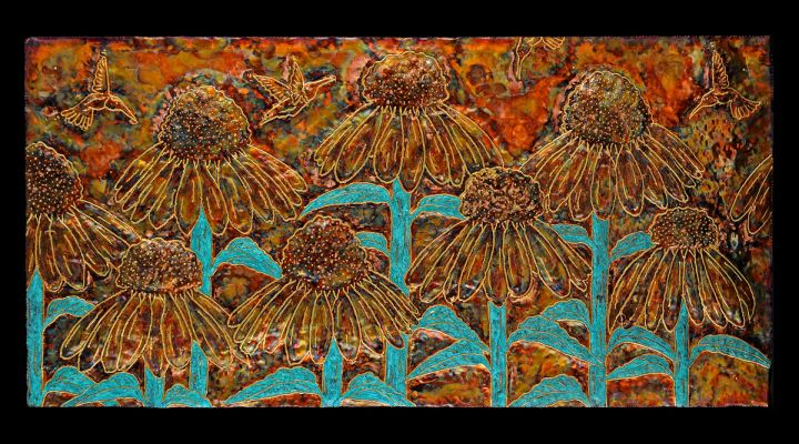 Sunflowers and Hummingbird Copper Repousse